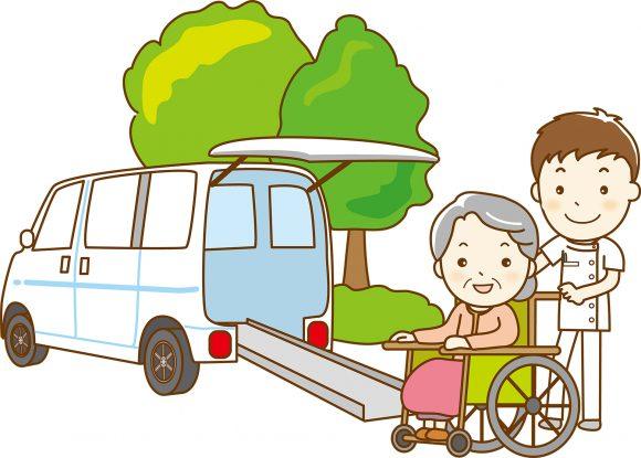 車いすに座った女性を車の乗せる介護士のイラスト
