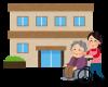 車いすの高齢者を押す介護士のイラスト