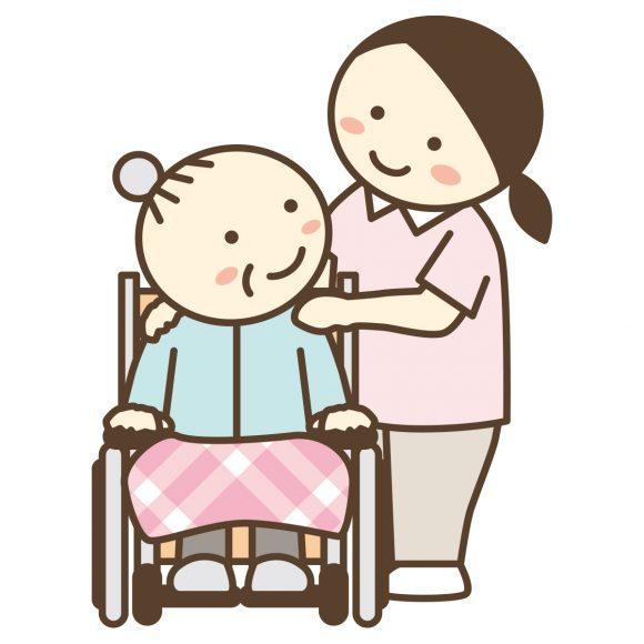 車いすの高齢者と介護士のイラスト