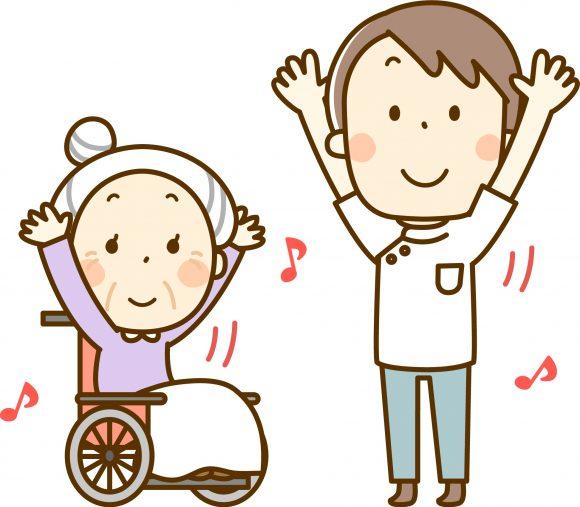 体操をする車いすの高齢者と介護士のイラスト