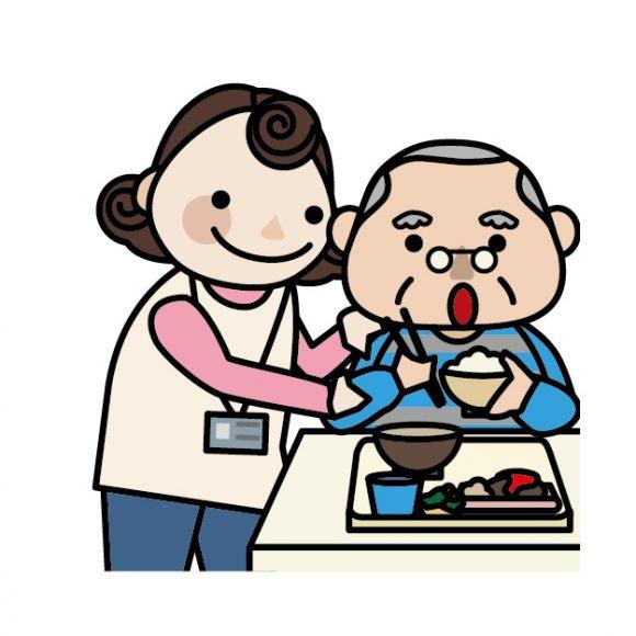 介護ボランティアが食事介助のお手伝いをしているイラスト