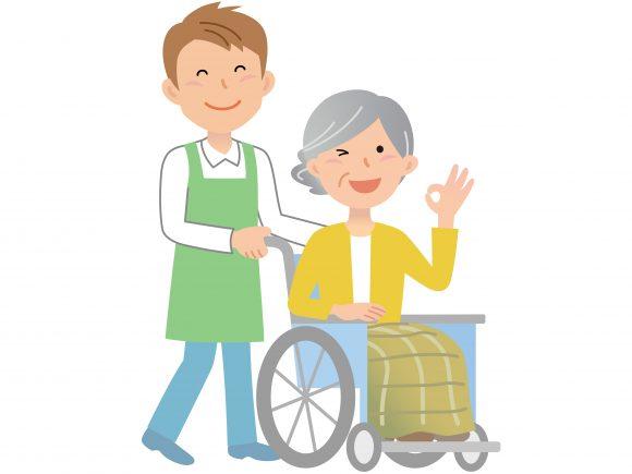 車いすに乗った高齢者の介助をする男性介護士のイラスト