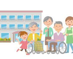 施設と高齢者とその家族のイラスト