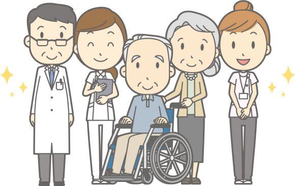 高齢者と介護士が笑顔で並んでいるイラスト