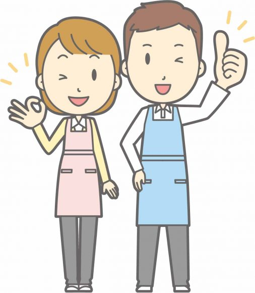 笑顔で手を振る介護士のイラスト