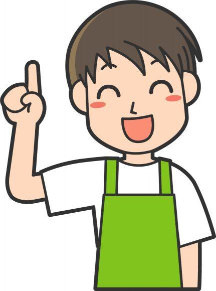 笑顔で指差しをする男性介護士のイラスト